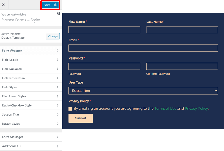 Save Form in Customizer