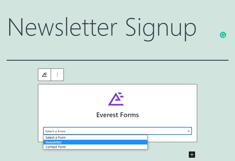 Select a Form Everest Forms