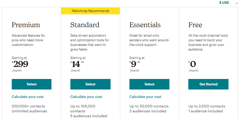 Select a MailChimp Plan