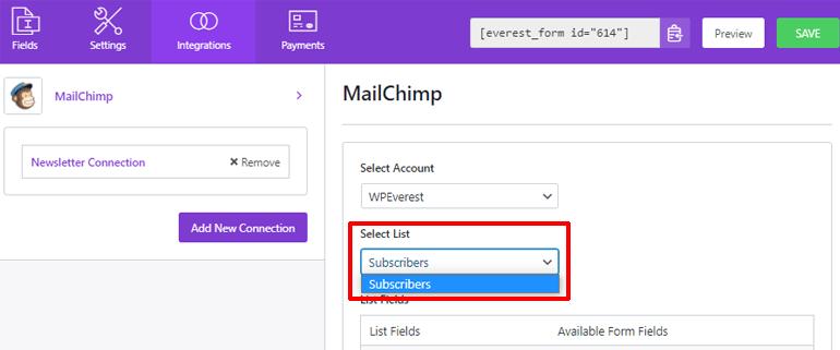 Select a List Button