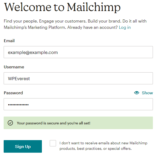 Sign Up MailChimp
