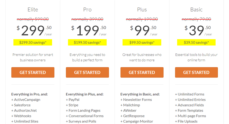 WPForms Pricing Plans