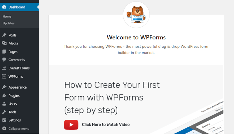 WPForms Welcome Page