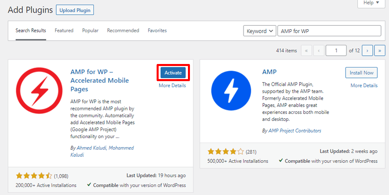 Activate AMP for WP