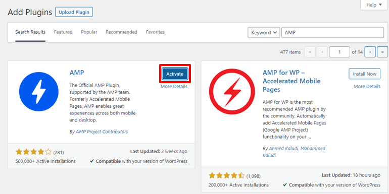 Activate the Official AMP Plugin