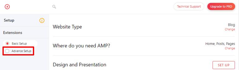 Choose Advanced Setup in AMP for WP