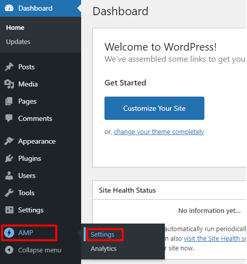AMP to Settings in WP Dashboard