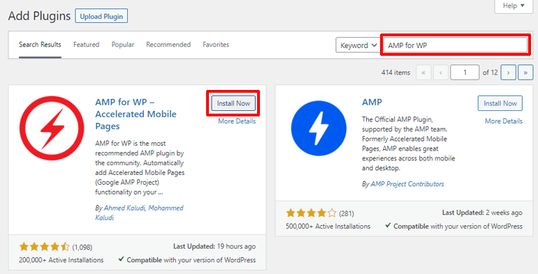 Install AMP for WP