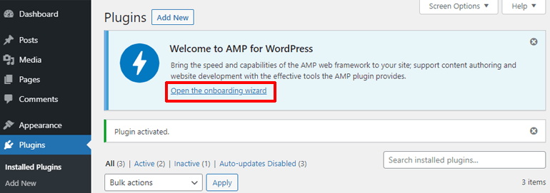 Open Wizard Option in the Official AMP Plugin
