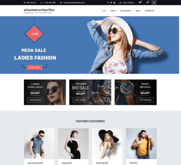 eCommerce Gem WordPress Theme Demo