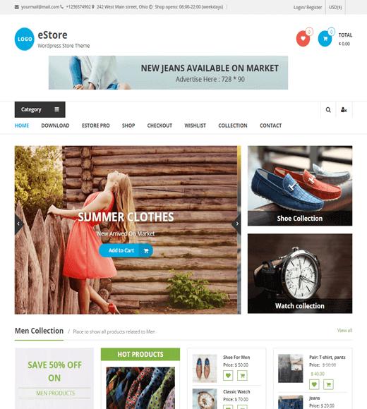 eStore Best Free eCommerce WordPress Theme