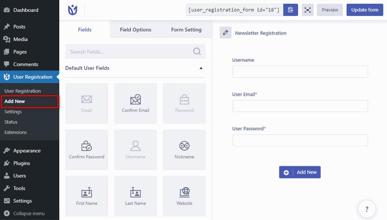 Create Social Registration