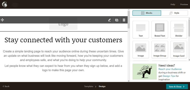 Mailchimp Landing Page Editor