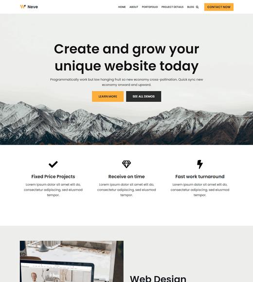 Neve WordPress Landing Page Theme