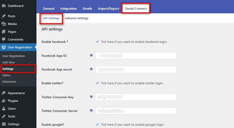 Social Login WordPress Settings