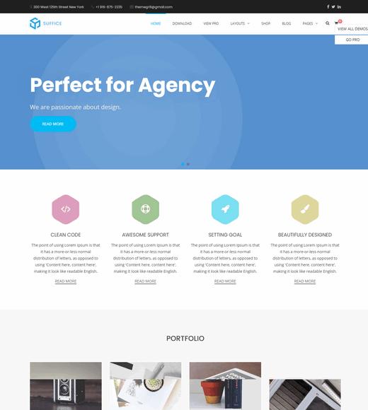 Suffice WordPress Theme Landing Page