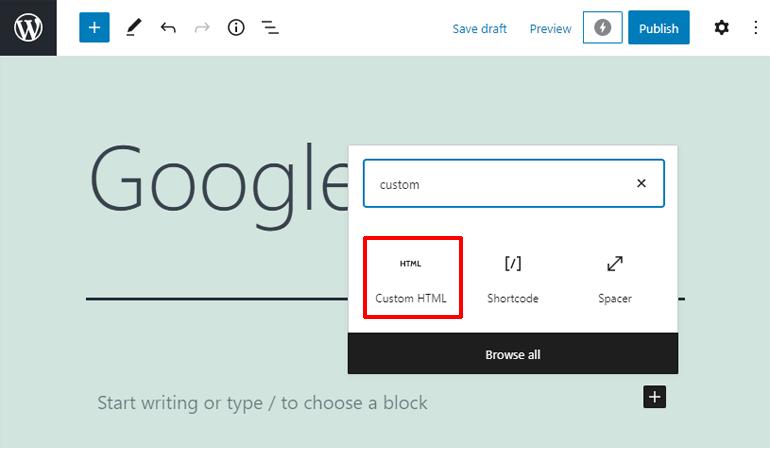 Custom HTML Block How to Embed Google Form in WordPress