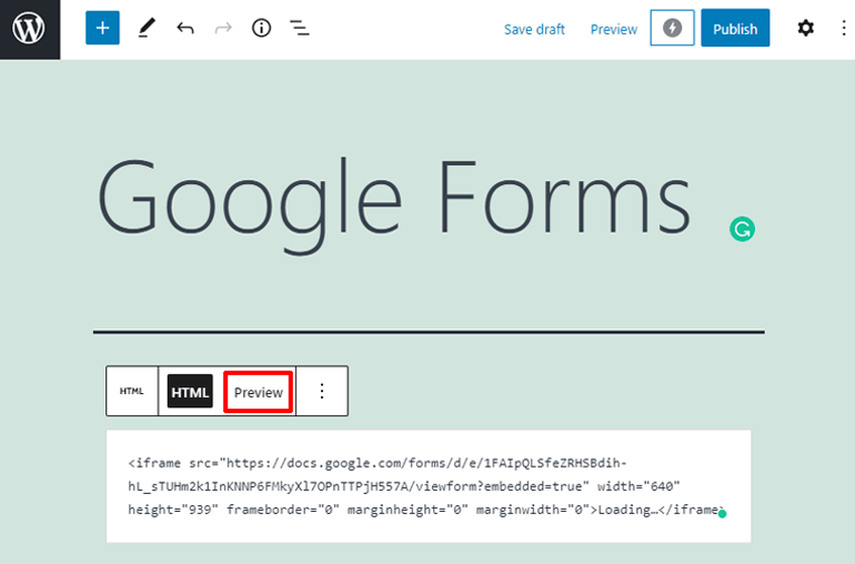 Preview The Google Form