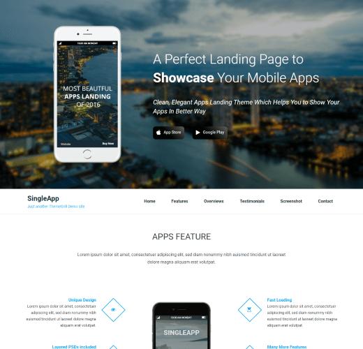 SingleApp Free WordPress Landing Themes