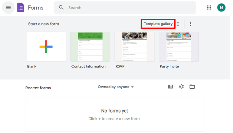 Template Gallery Button Google Forms