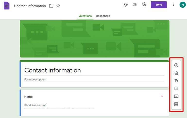 Vertical Options Bar Google Forms