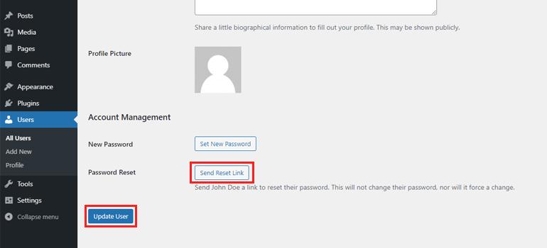 Send Reset Link Manage Users in WordPress