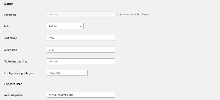 Change User Information