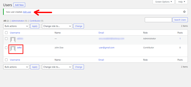 New User Created Manage Users in WordPress