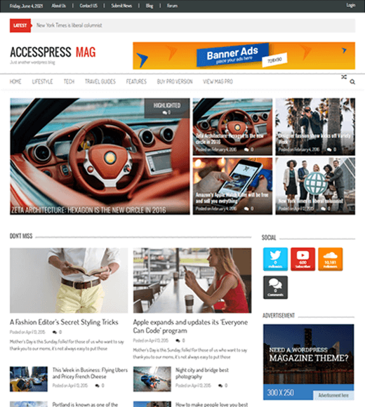 Accesspress Mag Modern Design Free WordPress Theme