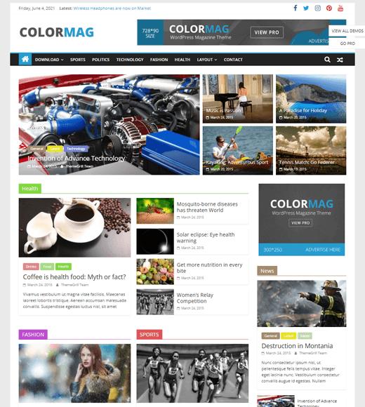 ColorMag Best WordPress Magazine Theme Demo