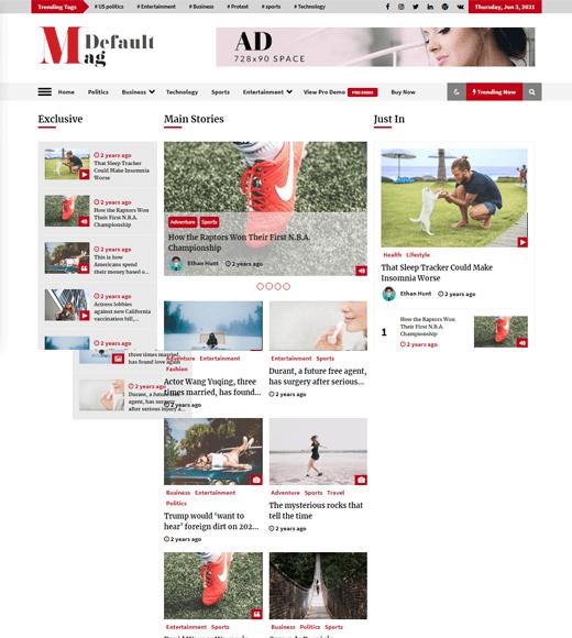 Default Mag Astonishing WordPress Magazine Template Free