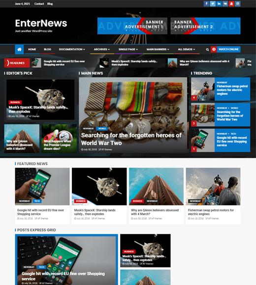 EnterNews Free WordPress Magazine Themes Demo