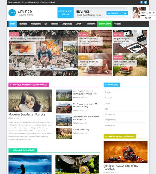 Envince Free WordPress Magazine Theme