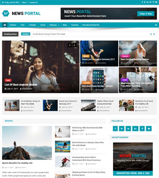 News Portal Best Free WordPress Magazine Themes