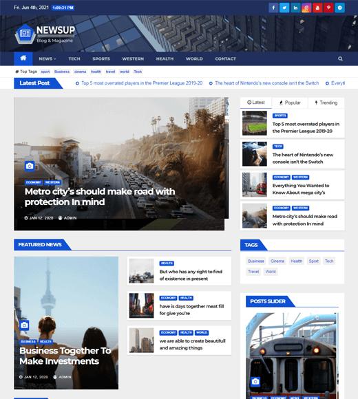 Newsup WordPress Magazine Template for Free