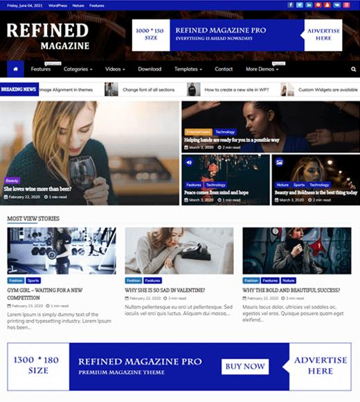 Refined Magazine Free WordPress Magazine Themes
