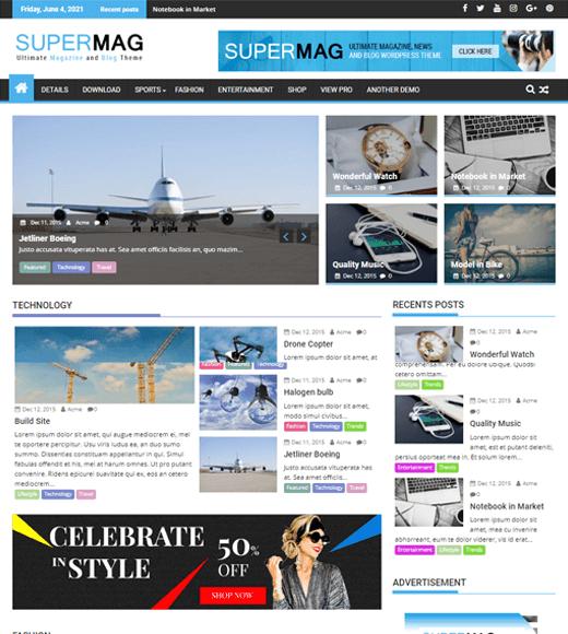 SuperMag Best Free WordPress Magazine Themes