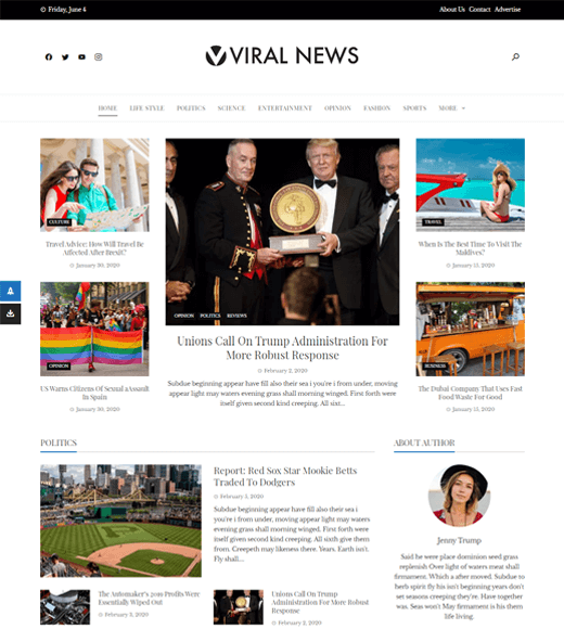 Viral News Feature-rich and Free Magazine Template for WordPress