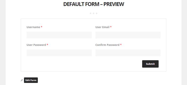 Default User Registration Form Preview