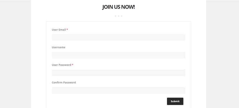 Preview Custom User Registration WordPress Form