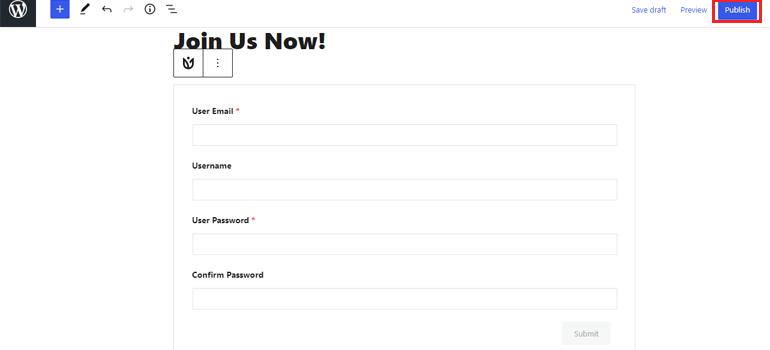 Publish User Registration WordPress Form