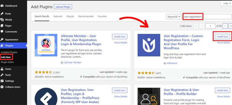 Search User Registration Plugin