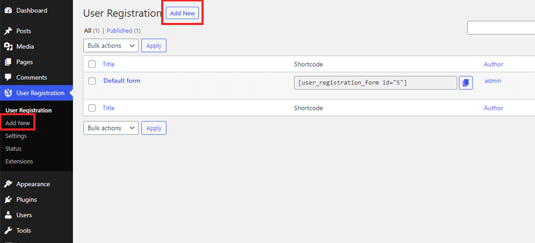 Add New Form Approve Users in WordPress