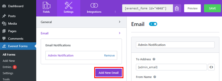 Add New Email Button