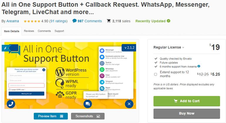 All in One Support Button Callback Widget WordPress Plugin