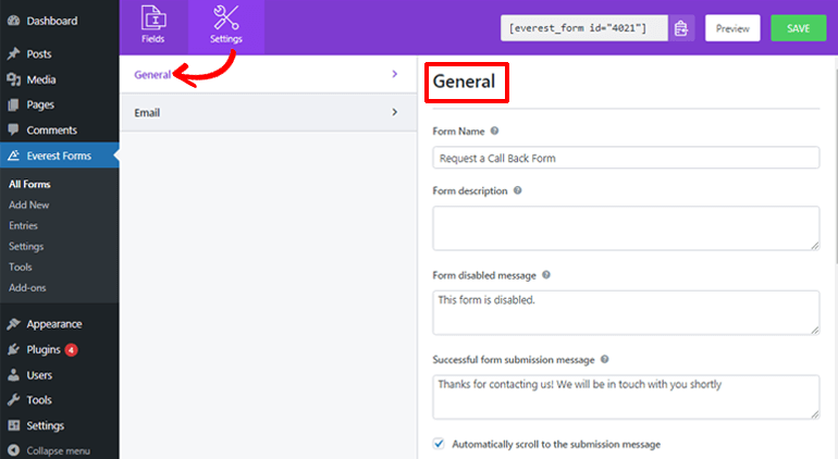 Configuring General Settings of WordPress Request a Call Back Form