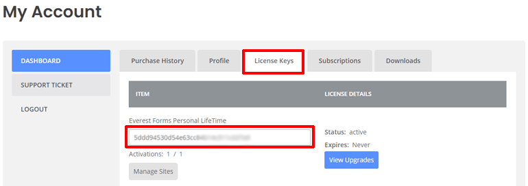 Copy License Key