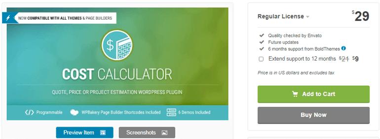 Cost Calculator Add to Quote WordPress Plugin
