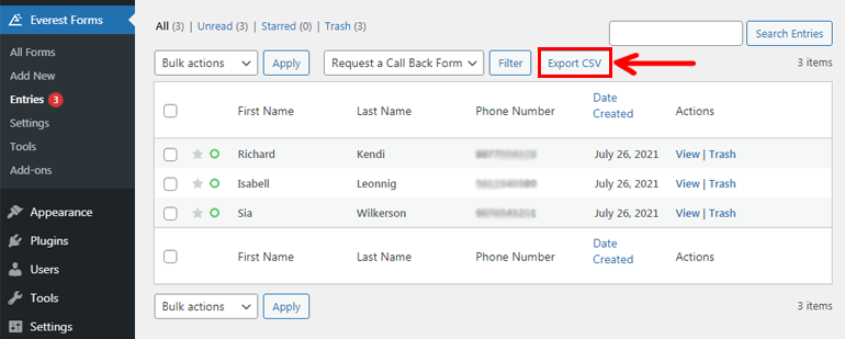 Export CSV File