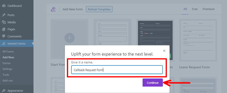 Providing Name to WordPress Request a Call Back Form
